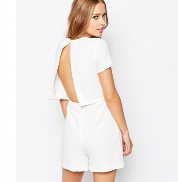 8f89ab3be9c ASOS Pants - ASOS White Romper with Open Back and Sleeves